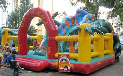 Inflatable forest slide bounce house