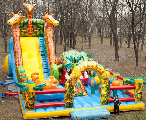 Inflatable jail bounce house with slide
