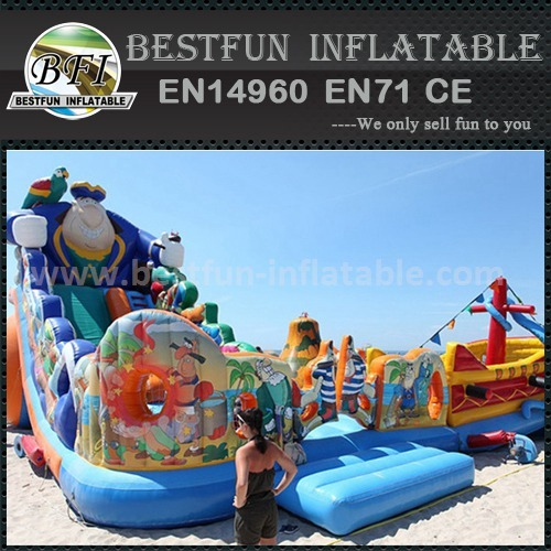 Inflatable obstacle double slide