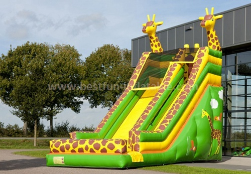 Inflatable jungle forest giraffe slide