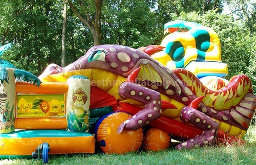 Inflatable kids fun city with slide