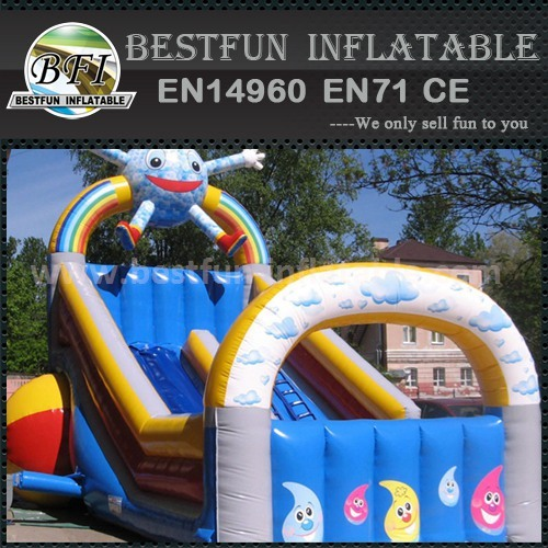 Inflatable slide and trampoline
