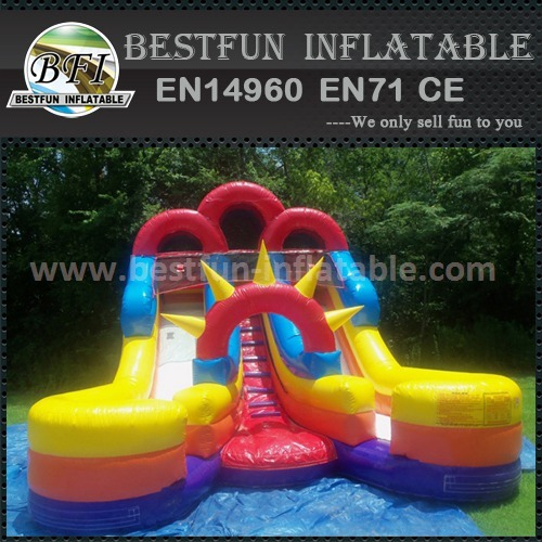 Inflatable slide double land