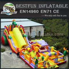 Inflatable orange double lane slide