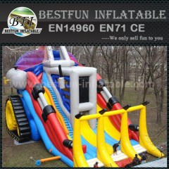 Inflatable single lane slip and slide