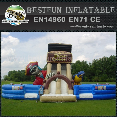 Inflatable slide with double lane