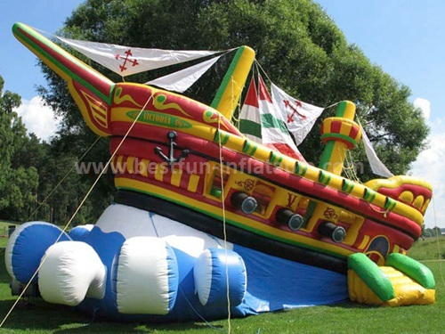 Inflatable slide in special ship shape