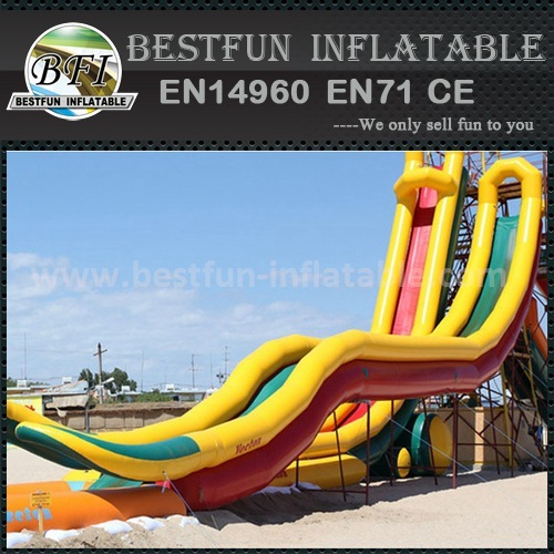 Inflatable slide with long slip