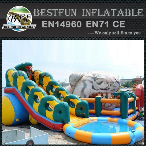 Inflatable slip and slide pool