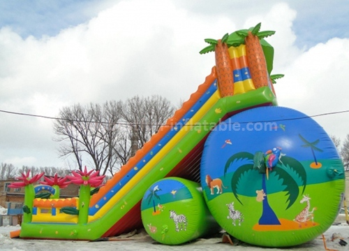 Inflatable three lanes slide