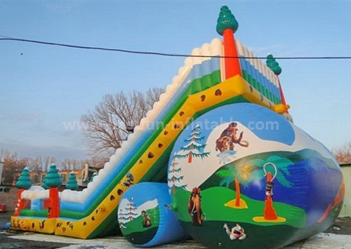 Inflatable trampoline with slide