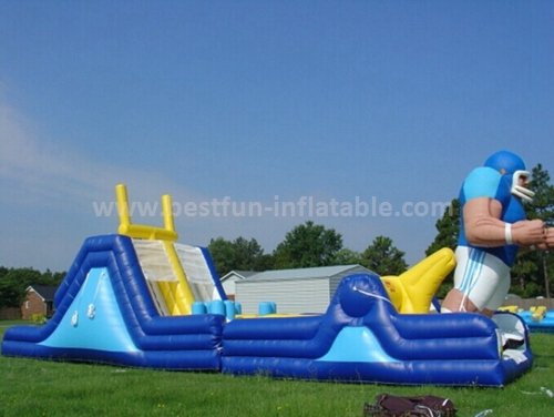 Long inflatable obstacle with slide