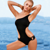 2015 Ladies Swimwear Solid color one-should swimwear Double loop chains fashion sexy women's swimsuit