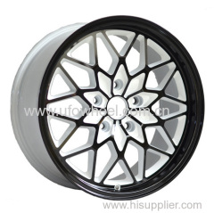 Black painted white inner groove alloy wheel