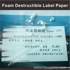 Foam Brittle Self Adhesive Ultra Destructible Vinyl Label Papers Manufacturer in Rolls or in Sheets