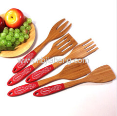 Bamboo Kitchen Utensils 5 Wooden Spoons and Spatula Set for Serving and Cooking Tools