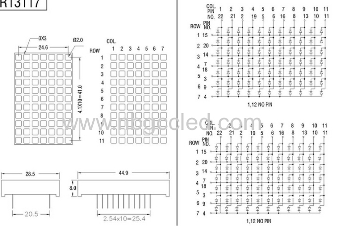 led dot matrix 7 x 11 square matrix display manufacturers