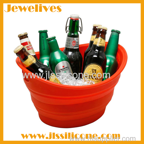 Silicone foldable ice bucket for cooling beer and wine