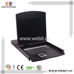 """17"""" 8-port VGA LCD KVM Switch within IP Slot, Supports USB/PS2"""