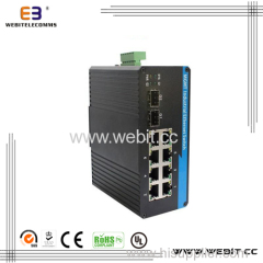 2×1000Base-FX and 8× 10/100 Base-TX DIN-Rail industrial Ethernet Switch