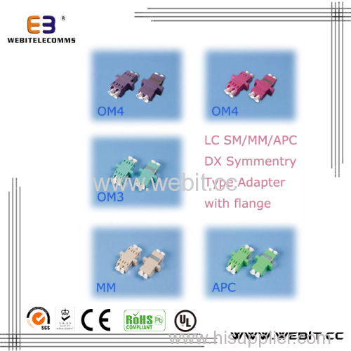 LC DX symmetry adapter with flange