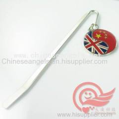 high quality customized decorated bookmarks with countries flags luxury metal book marks and book-marks manufacturer
