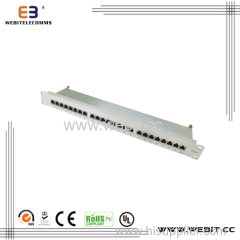 19'' 1u 24 Ports CAT6 Patch Panel with Each One Modular Shielded
