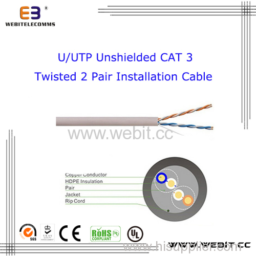 U/UTP unshielded Cat 3 Twisted 2 Pair Installation cable