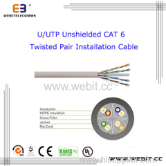 U/UTP Shielded Cat 6 Twisted Pair Installation cable