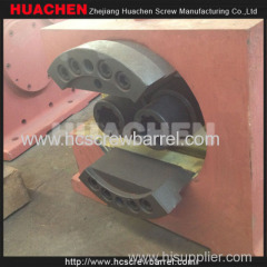 Conical twin screw barrel with gearbox reducer cooling fans and heating circles