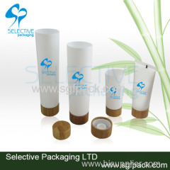 Plastic tube with bamboo lid