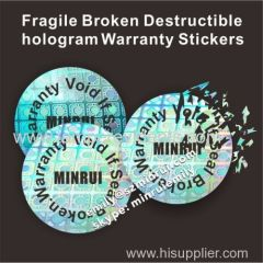 Custom security tamper proof hologram fragile destructible seal stickers