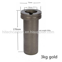 3kg Gold Melting Graphite Crucible Designed with grooved double flange size OD75* ID50* H170mm in Hardin Melting Furnace