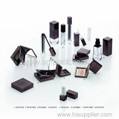 gun color square cosmetic packaging complete line empty lip gloss/eyeliner/mascara/lipstick/compact powder container