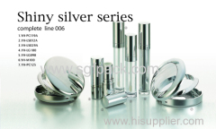 shiny silver makeup container