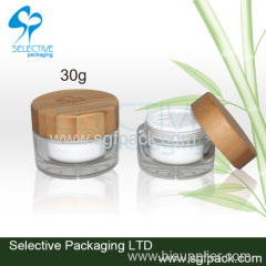 Acrylic cream jar with bamboo cap