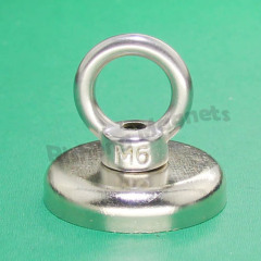 D42mm pot magnet with a M6 countersunk permanent magnets for iron Recovery retriever magnete with an ss304 ring