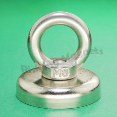 D48mm M8 countersunk magnet rare earth magnets for iron Recovery retriever magnete with an ss304 ring