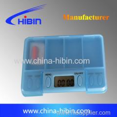 mini pill box with alarm 4 parts