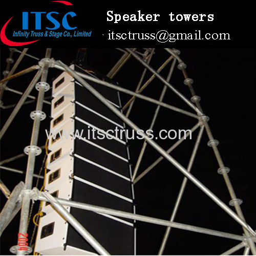 Layer trusses for speaker towers in outdoor event