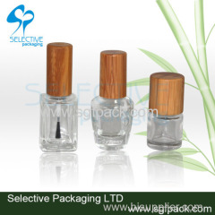 Bamboo cap nail polish glass botte