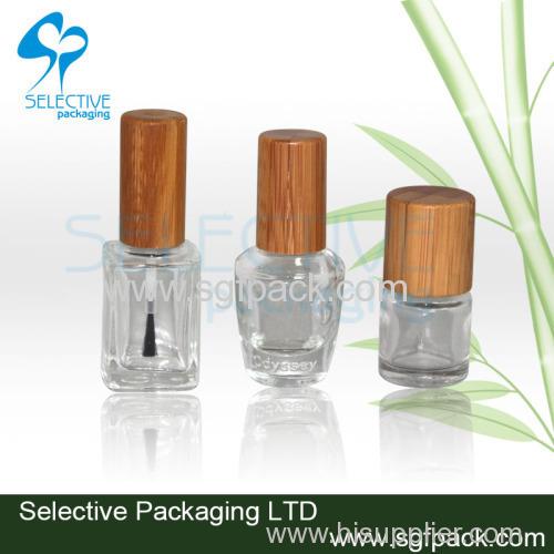Bamboo cap nail polish glass bottle