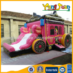 Princess carriage combo bounce house with slide
