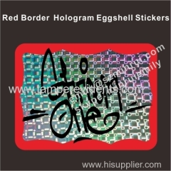 Blank red border hologram egg shell stickers