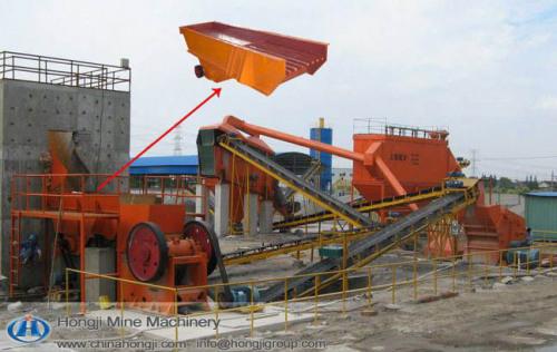Vibrating feeder 300tpd stone crushing plant