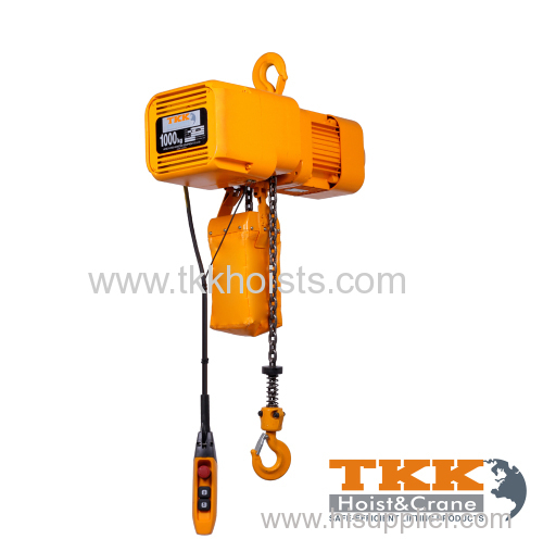 Single Speed Aluminum Body Three Phase 380V Electric Chain Hoist Hook Suspension Type