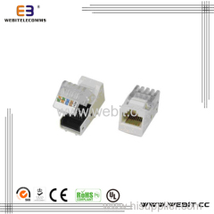 RJ45 CAT6 UTP 180 degree Dual IDC keystone jack