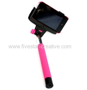Extendable Monopod Bluetooth Remote Control Selfie Pole Stick with Mount Holder in Pink