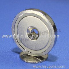 D42mm pot magnet with a M6 countersunk permanent magnet mounted