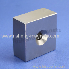 48x48x24mm block Neodymium magnet with a countersunk magnets for iron